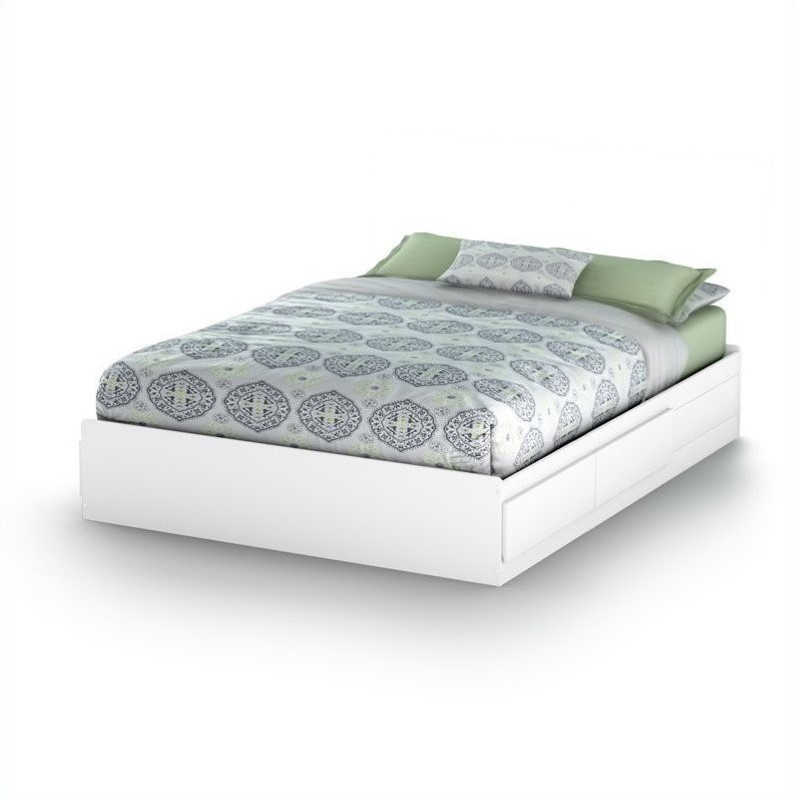South Shore Breakwater Queen Mates Storage Bed in Pure White Finish