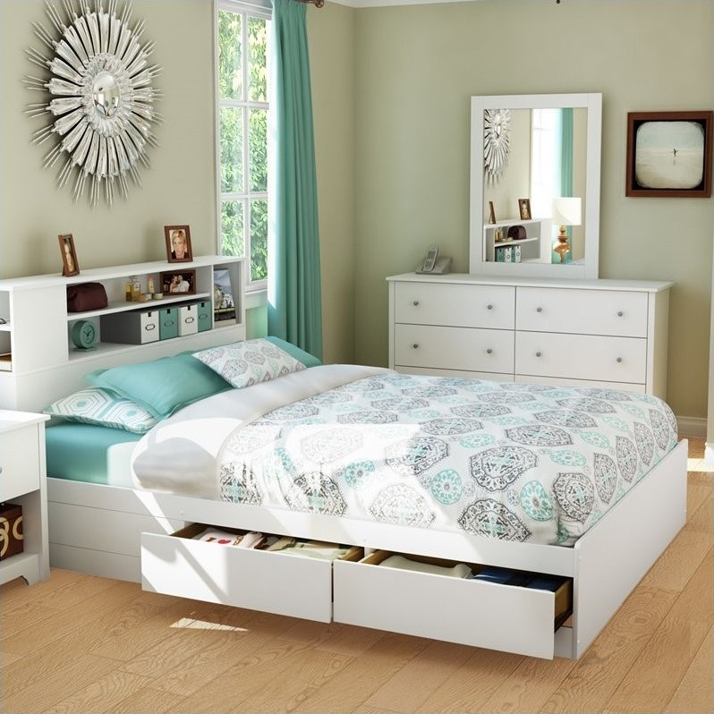 Breakwater Queen Bookcase Storage Bed in Pure White