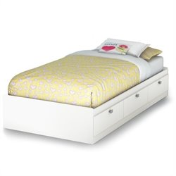 South Shore Affinato Twin Mates Storage Bed Frame Only in Pure White Finish