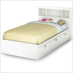 South Shore Affinato Twin Bookcase Storage Bed in Pure White