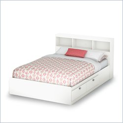 South Shore Affinato Full Bookcase Storage Bed in Pure White
