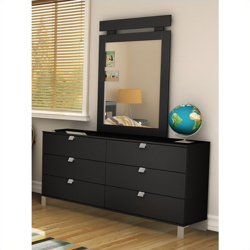 South Shore Affinato 6 Drawer Double Dresser in Solid Black Finish