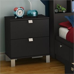 South Shore Affinato Nightstand in Solid Black Finish