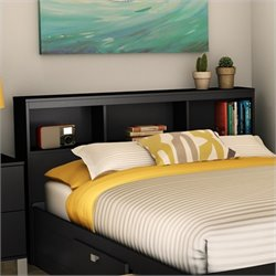 South Shore Affinato Full Bookcase Headboard in Solid Black Finish