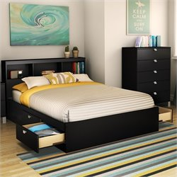 South Shore Affinato Full Mates Storage Bed Frame Only in Solid Black Finish