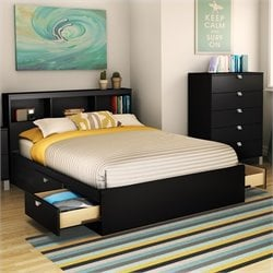 South Shore Affinato Mates Bed in Pure Black