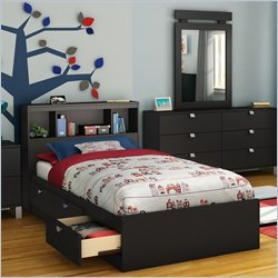 South Shore Affinato Twin Bookcase Storage Bed in Solid Black