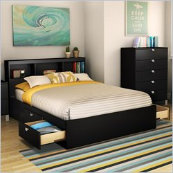 South Shore Affinato Full Bookcase Storage Bed in Solid Black