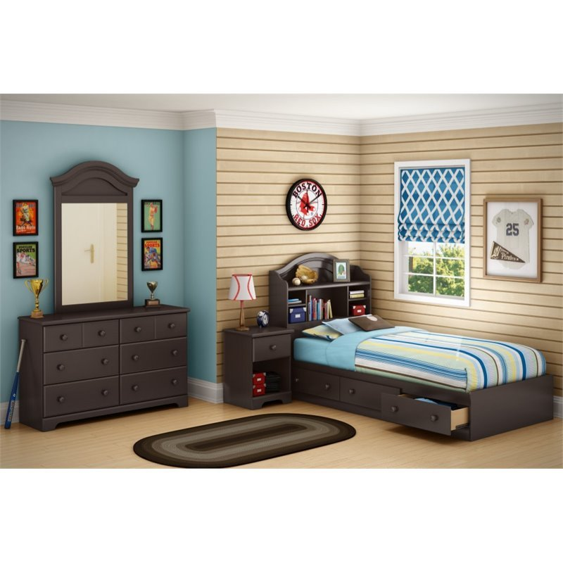 South Shore Summer Breeze 6 Drawer Double Dresser in Chocolate Finish