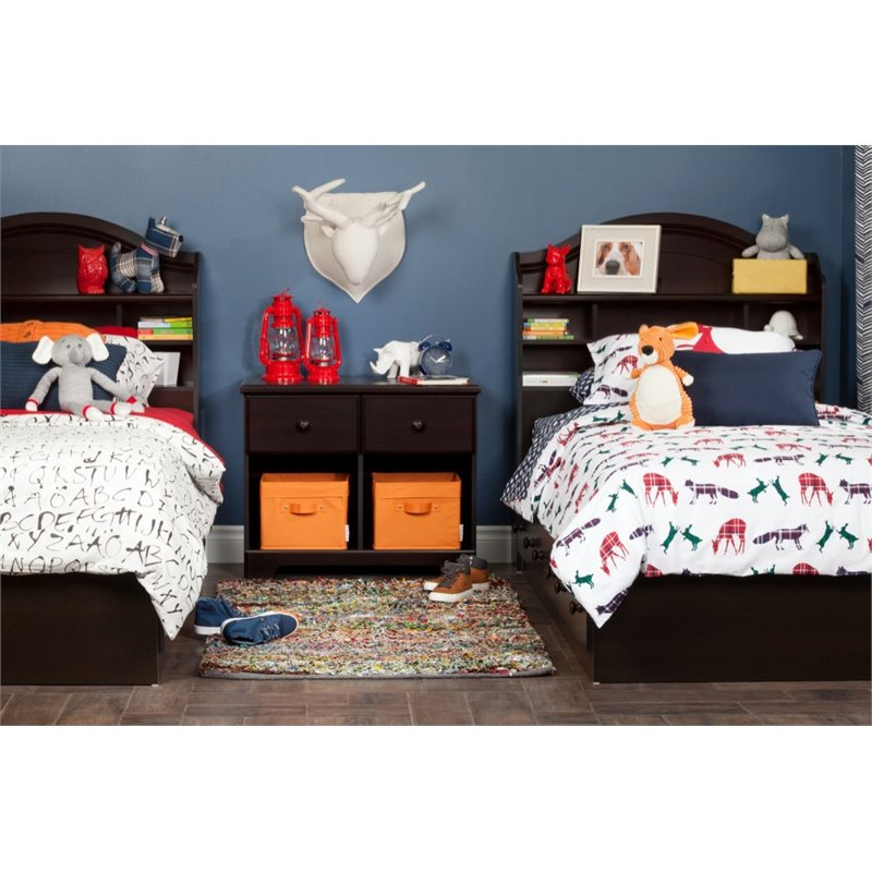 South Shore Summer Breeze Twin Mates Storage Bed in Chocolate Finish