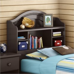 South Shore Summer Breeze Twin Bookcase Headboard in Chocolate Finish