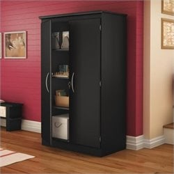 South Shore Park 2 Door Storage Cabinet in Solid Black Finish