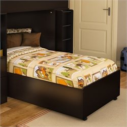 South Shore Logik Twin Platform Bed on Casters in Chocolate
