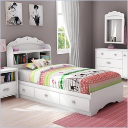 South Shore Sabrina Twin Bookcase Bed in Pure White