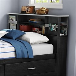South Shore Cosmos Full Bookcase Headboard in Black Onyx