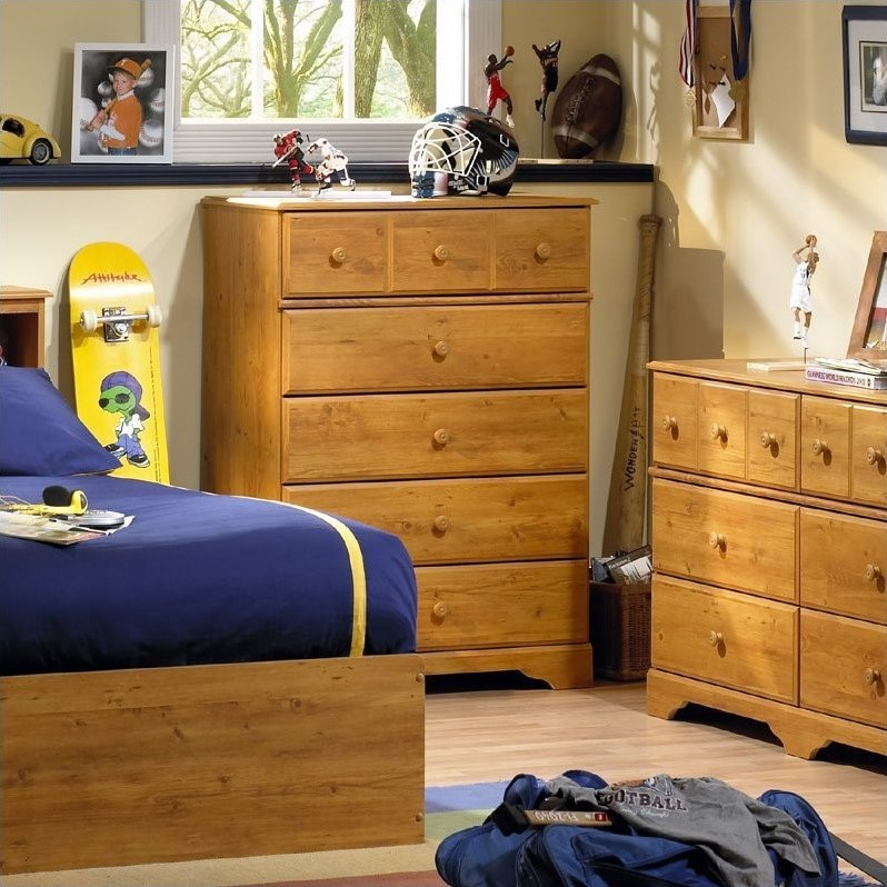 South Shore Amesbury Kids 5 Drawer Chest in Country Pine Finish