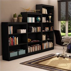 South Shore 3 Piece Bookcase Set in Pure Black