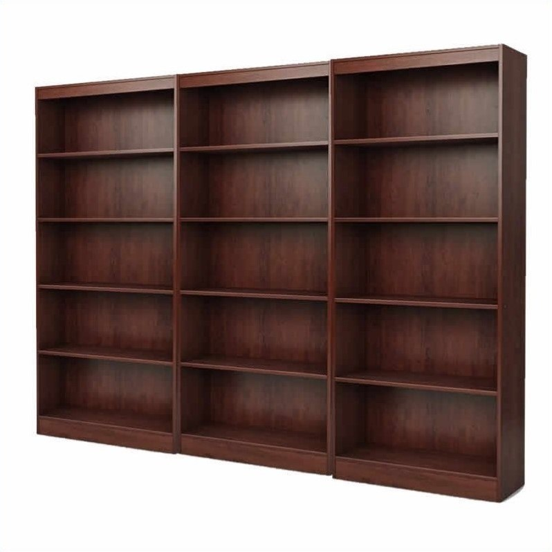 Office 5 Shelf Wall Bookcase in Royal Cherry