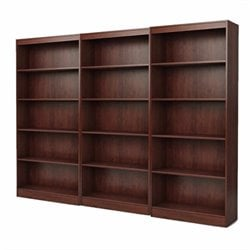 South Shore Office 5 Shelf Wall Bookcase in Royal Cherry