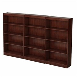 South Shore Office 4 Shelf Wall Bookcase in Royal Cherry