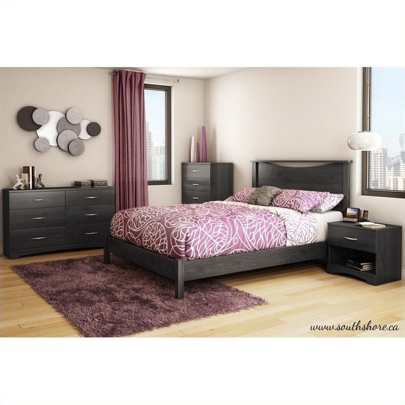 South Shore Maddox Queen Platform Bed in Gray Oak
