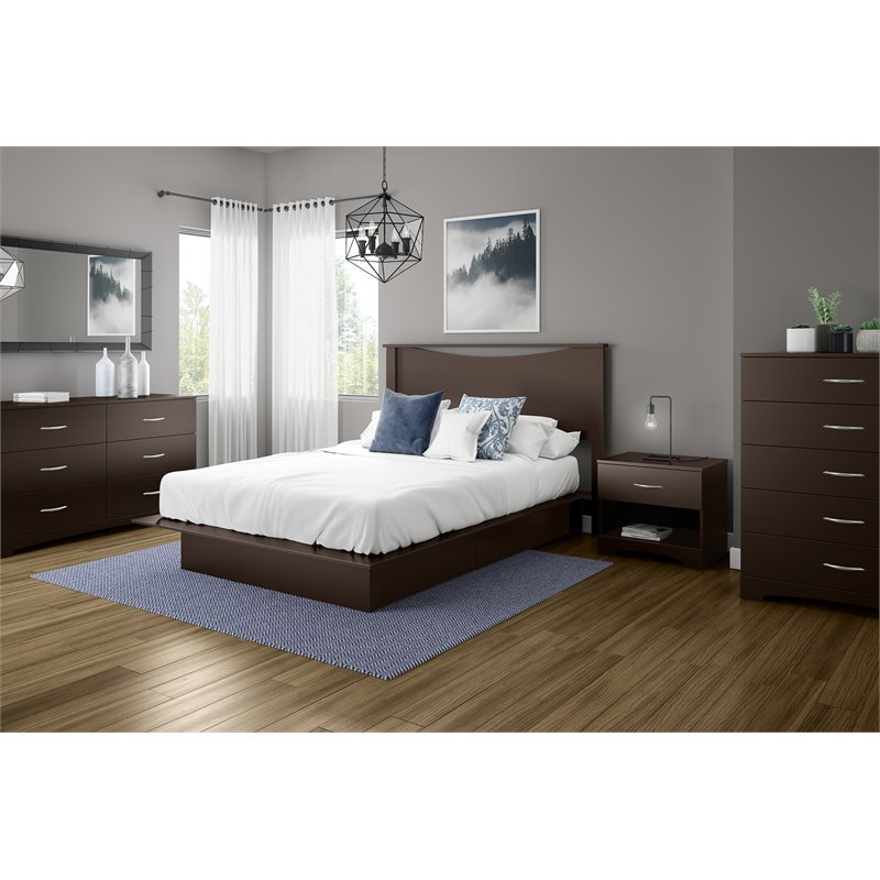 south shore back bay contemporary queen platform storage bed frame in dark chocolate finish