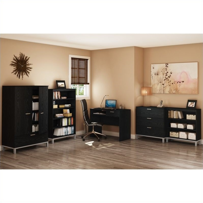 South Shore Flexible 3 Drawer Chest in Black Oak