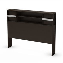 South Shore Back Bay Full Bookcase Headboard in Chocolate