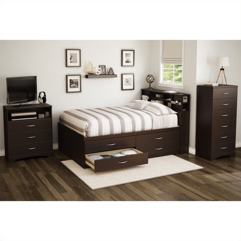 South Shore Back Bay Full Captains Bed in Chocolate