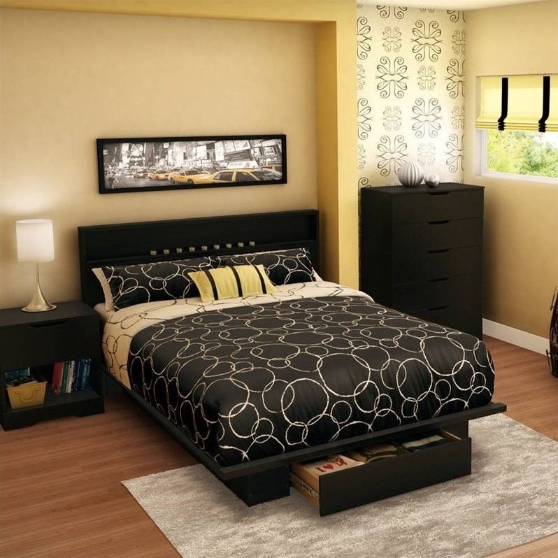 South Shore Trinity Full/Queen Platform Bed with Drawer in Pure Black