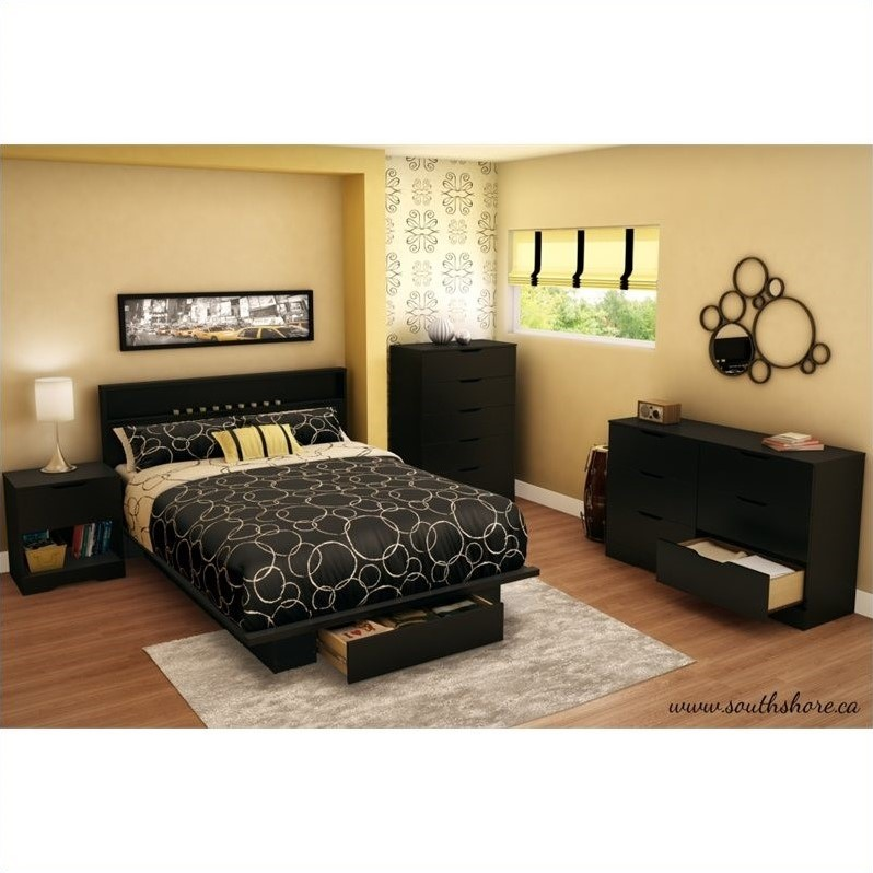 South Shore Trinity Full/Queen Panal Headboard in Black