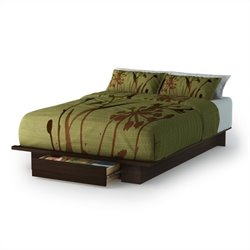 South Shore Trinity Full/Queen Platform Bed with Drawer in Mocha