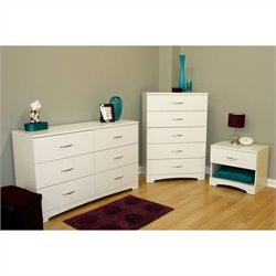South Shore Maddox Dresser with Chest and Nightstand Set in Pure White