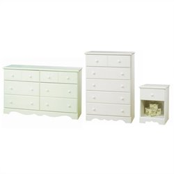 South Shore Summer Breeze Dresser with Chest and Nightstand Set in White Wash