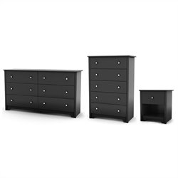 South Shore Breakwater Dresser with Chest and Nightstand Set in Pure Black