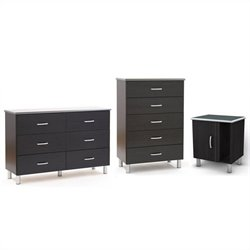 South Shore Cosmos Dresser with Chest and Nightstand Set in Black Onyx/Charcoal