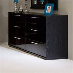 South Shore Mikka Contemporary Style 6 Drawer Dresser in Black Oak