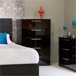South Shore Mikka Contemporary Style 5 Drawer Chest in Black Oak