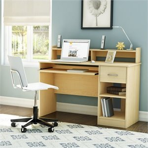 South Shore Axess Contemporary Style Computer Desk in Natural Maple
