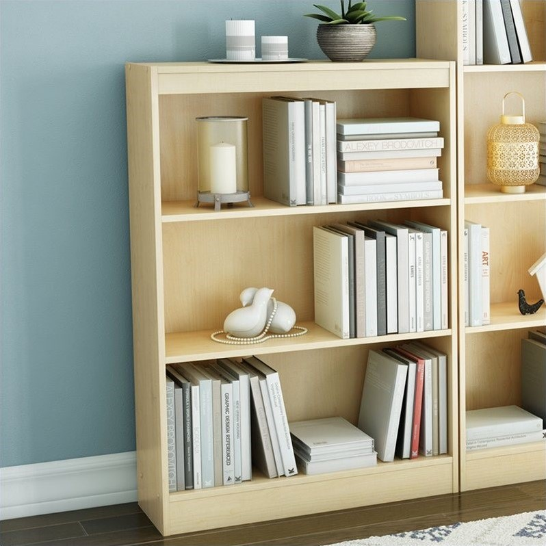 South Shore Axess Contemporary Style 3 Shelf Bookcase in Natural Maple