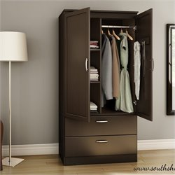 South Shore Acapella Transitional Style Wardrobe Armoire in Chocolate