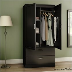 South Shore Acapella Transitional Style Wardrobe Armoire in Pure Black