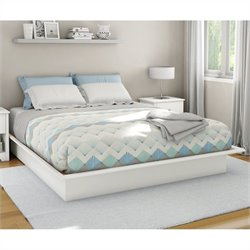 South Shore Libra King Platform Bed with Mouldings in Pure White