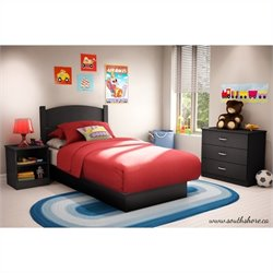 South Shore Libra Twin 3 Piece Bedroom in a Box in Pure Black