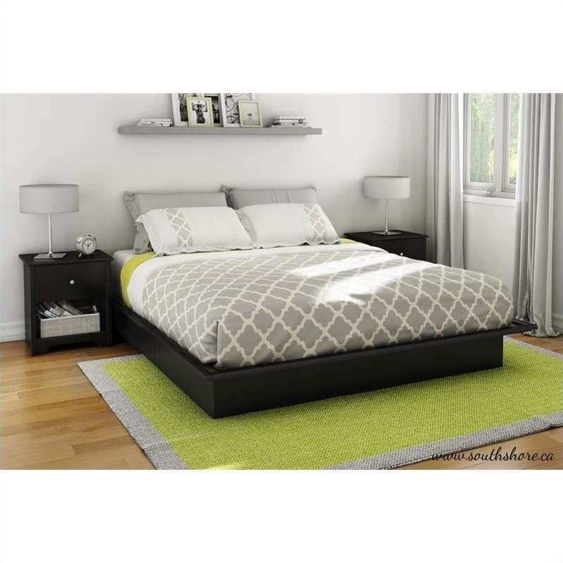South Shore Libra King Platform Bed with Mouldings in Pure Black