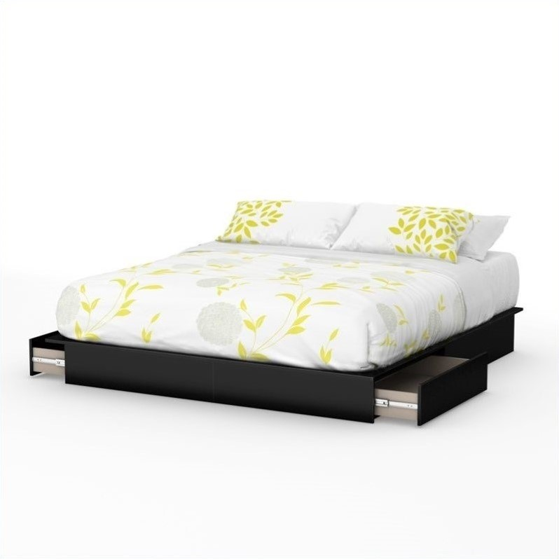 Step One King Platform Bed with Drawers in Pure Black