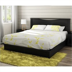 South Shore Step One King Platform Bed with Headboard and Drawers in Pure Black