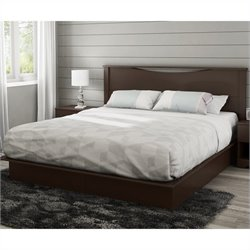 South Shore Step One King Platform Bed with Headboard and Drawers in Chocolate