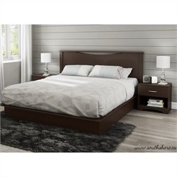 South Shore Step One King 4 Piece Bedroom Set in Chocolate
