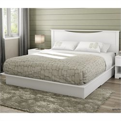 South Shore Step One King Platform Bed with Headboard and Drawers in Pure White